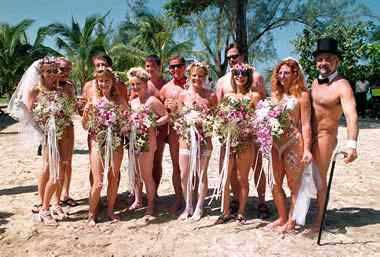 Hedonism III's world's largest nude wedding in Jamaica, February 14, 2003.