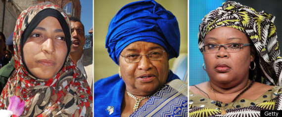 L to R: Tawakkul Karman, Ellen Johnson Sirleaf, Leymah Gbowee