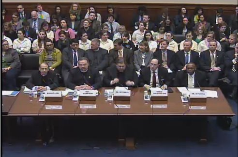 These are the witnesses testifying on the birth control benefit right now on Capitol Hill.  Planned Parenthood