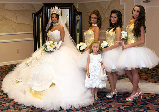 Nettie and her bridesmaids sparkle in gold and crystals. Image Credit: DCL