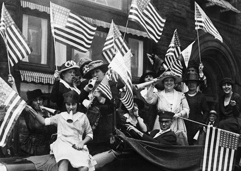 Suffragists celebrating
