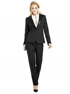 If a woman ever fills the role of James Bond she'd wear this After Six: The Marlowe women's tuxedo jacket. DAMN!
