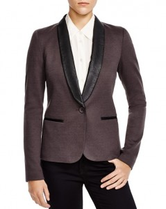 This James Jeans tuxedo jacket is great for the bride who wants to show a little more personality with the faux leather lapels.