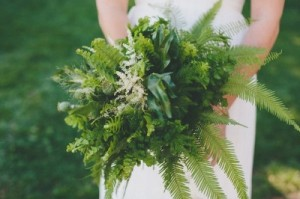 Fern/Leaf Bouquet: The benefit to this type of bouquet over flowers is that the florist is probably not killing the entire plant for your short enjoyment. The plant will be able to recover and grow.