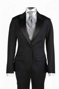 Her Tuxedos, the first online retailer specializing in tuxedos for women, offers this black peak lapel tuxedo suit and cravat to women looking for classical style.